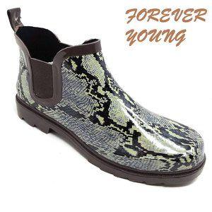 Women's Rubber Ankle Rain Boots, #3169, Snake